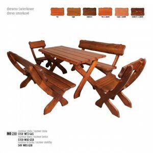 Dřevěný zahradní set, 2židle+2lavice+stůl, MO230 ořech