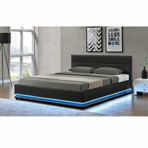 Manželská postel s bílým osvětlením, černá, 180x200, BIRGET NEW